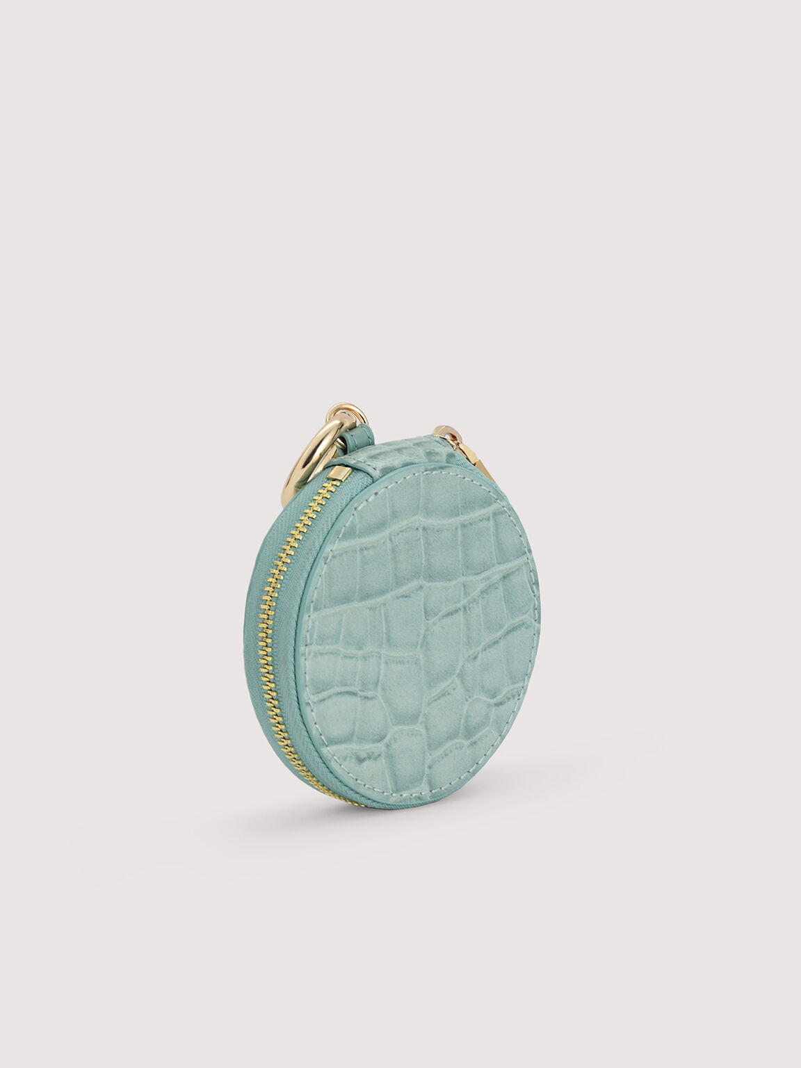 Embossed Leather Cardholder Lanyard with Coinpouch, Aqua, hi-res