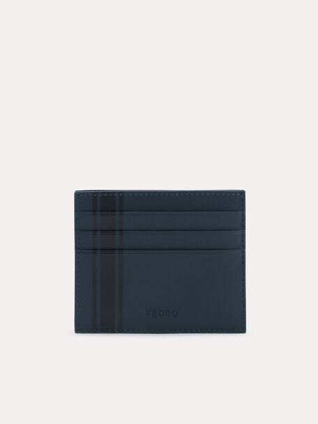 Two-Tone Leather Cardholder, Navy, hi-res