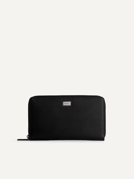 Leather Travel Organiser, Black, hi-res