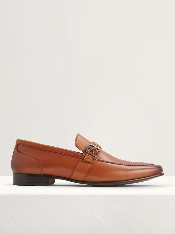 Buckled Leather Loafers, Cognac, hi-res