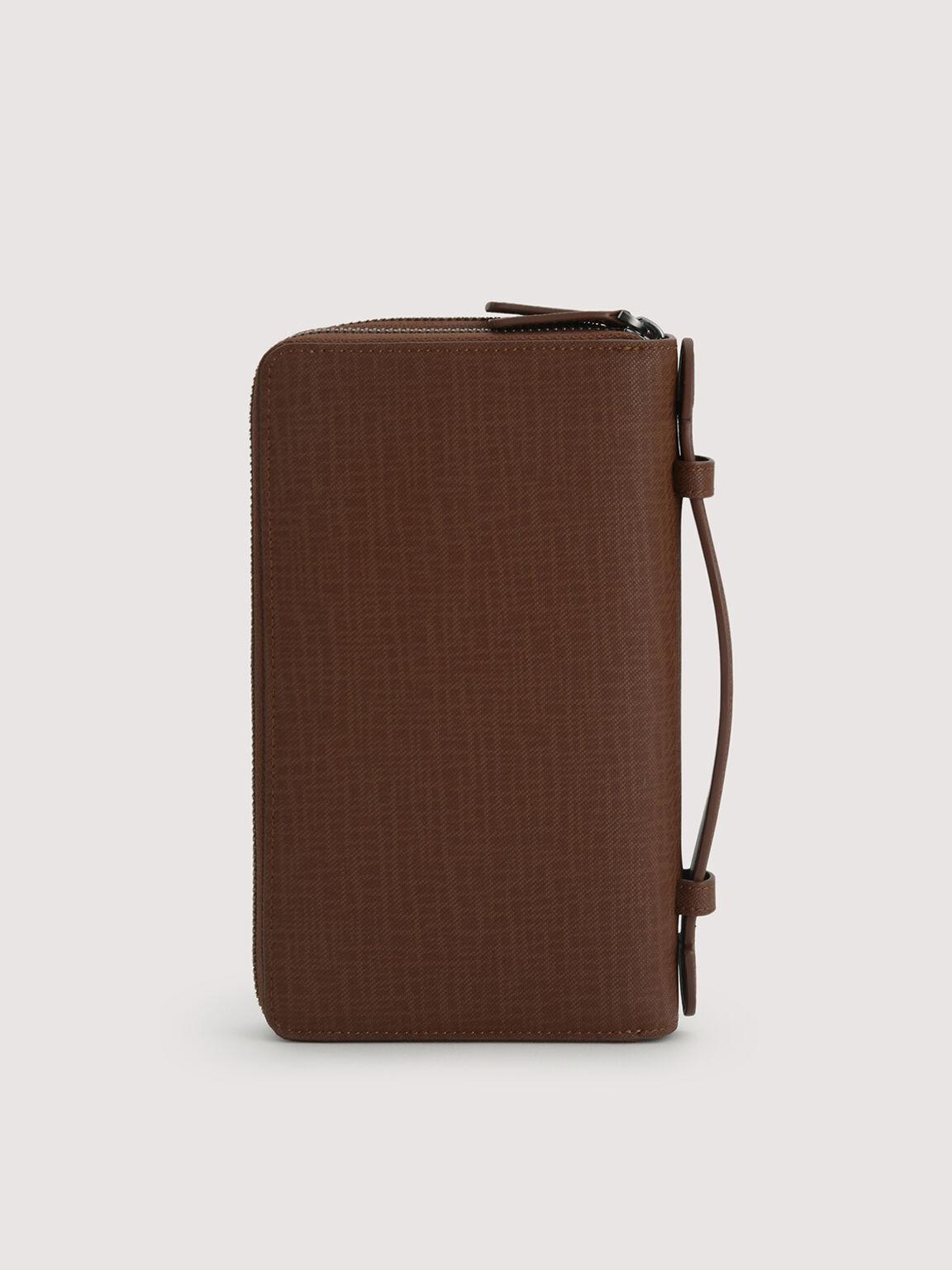 Leather Zip-Around Travel Organizer, Brown, hi-res