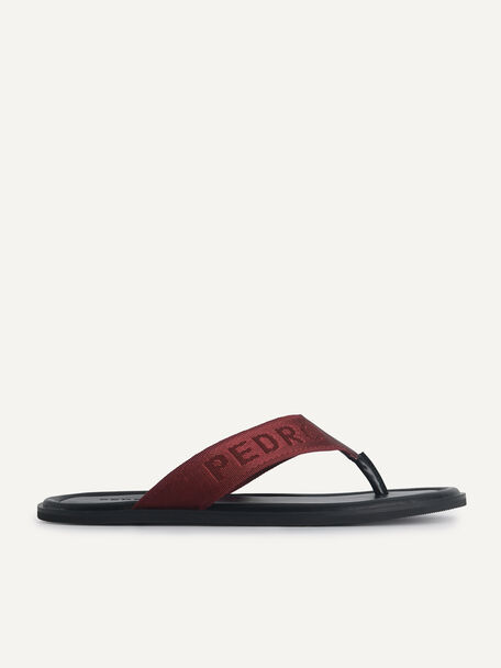 Nylon Thong Sandals, Maroon, hi-res
