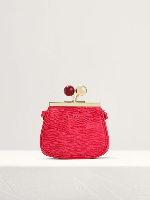 Kiss-Lock Leather Micro Bag with Lizard Effect, Red, hi-res