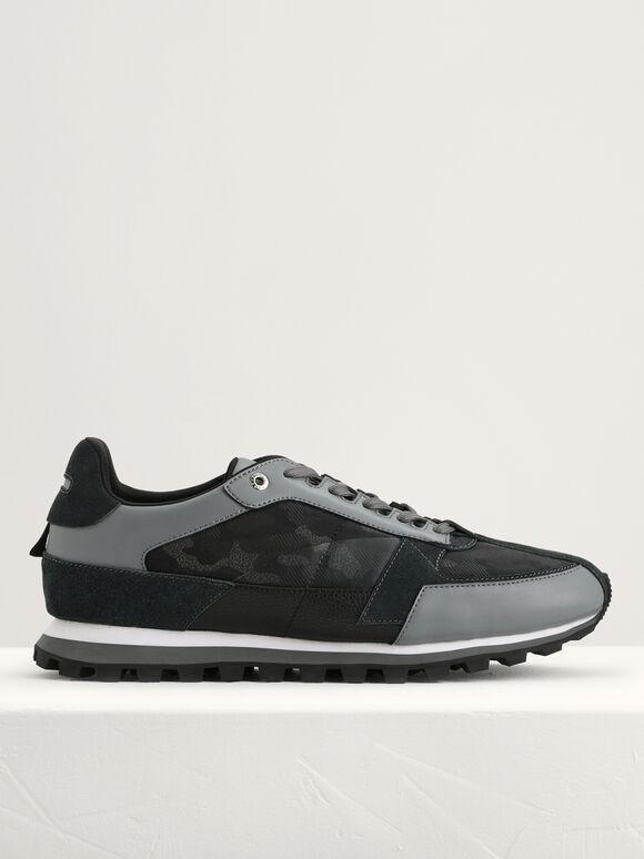 Camouflage Printed Sneakers, Black, hi-res