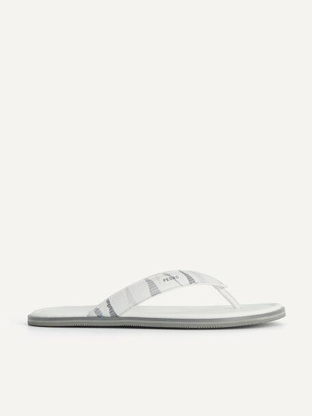 Padded Printed Thong Sandals, White, hi-res