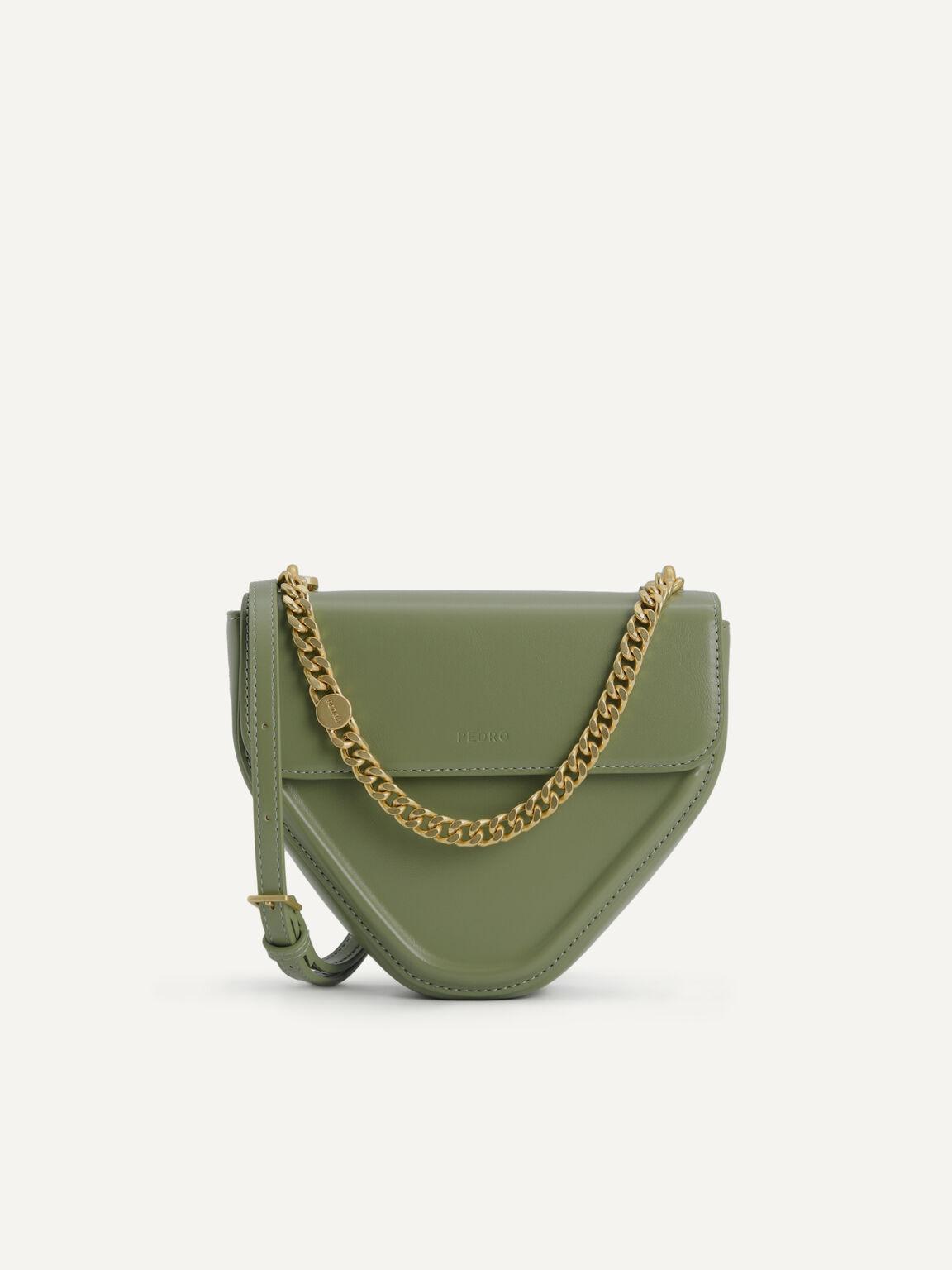 Mini Triangular Chain Shoulder Bag, Military Green, hi-res