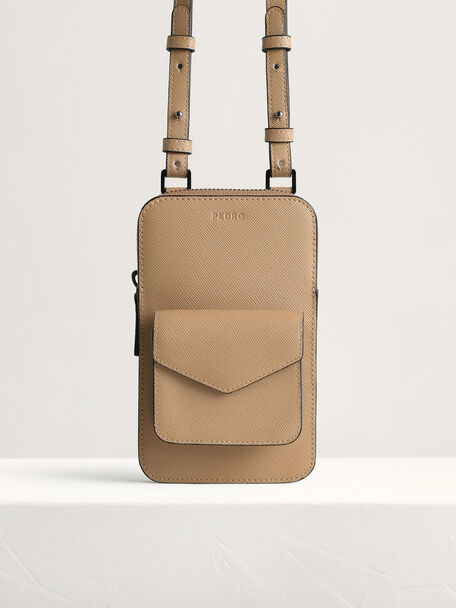 Embossed Leather Phone Pouch, Taupe, hi-res