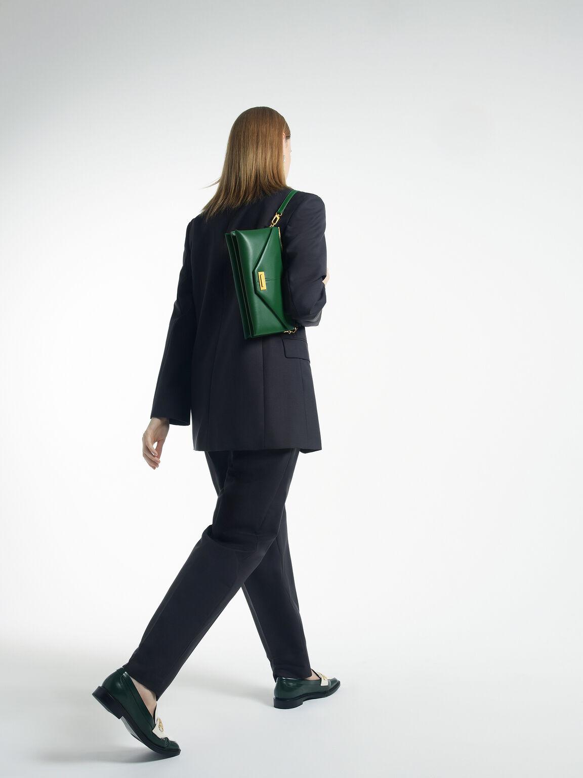 Envelope Leather Shoulder Bag, Green, hi-res