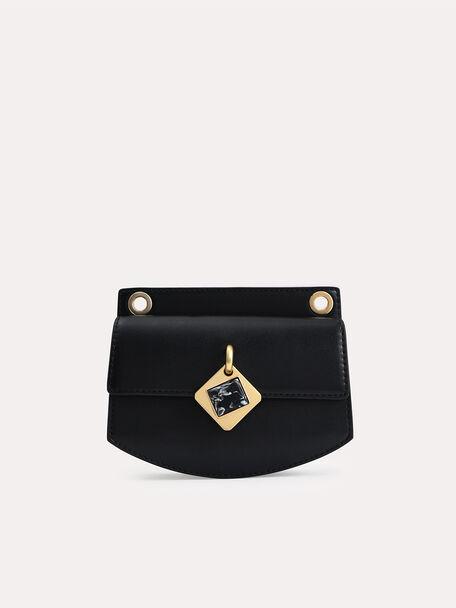 Micro Shoulder Bag with Marble Buckle, Black, hi-res