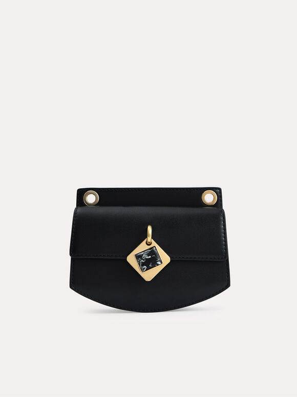 Micro Shoulder Bag with Marble Buckle, Black, hi-res