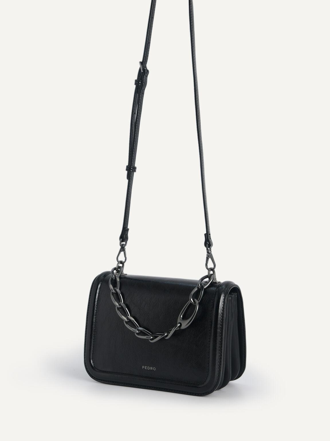 Chain-Strap Shoulder Bag, Black, hi-res