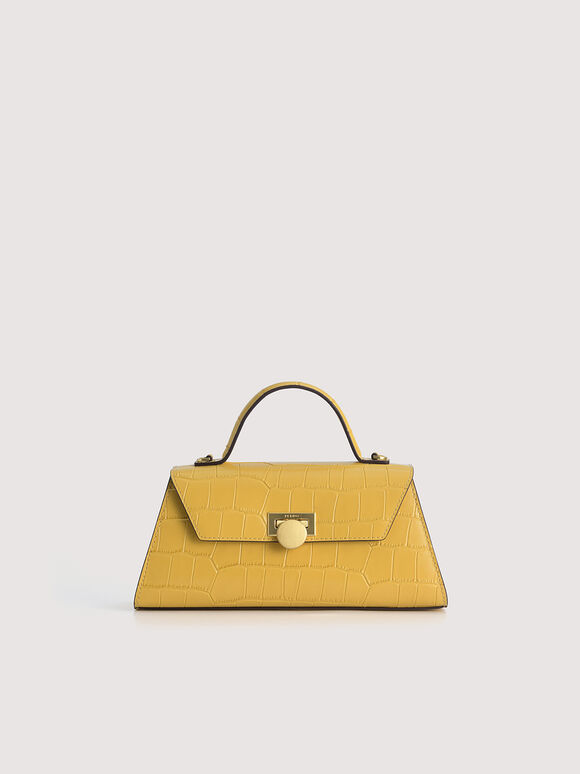 Croc-Effect Trapeze Top Handle Bag, Yellow, hi-res