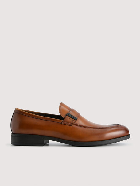 Lightweight Leather Loafers with Embelishment, Cognac, hi-res