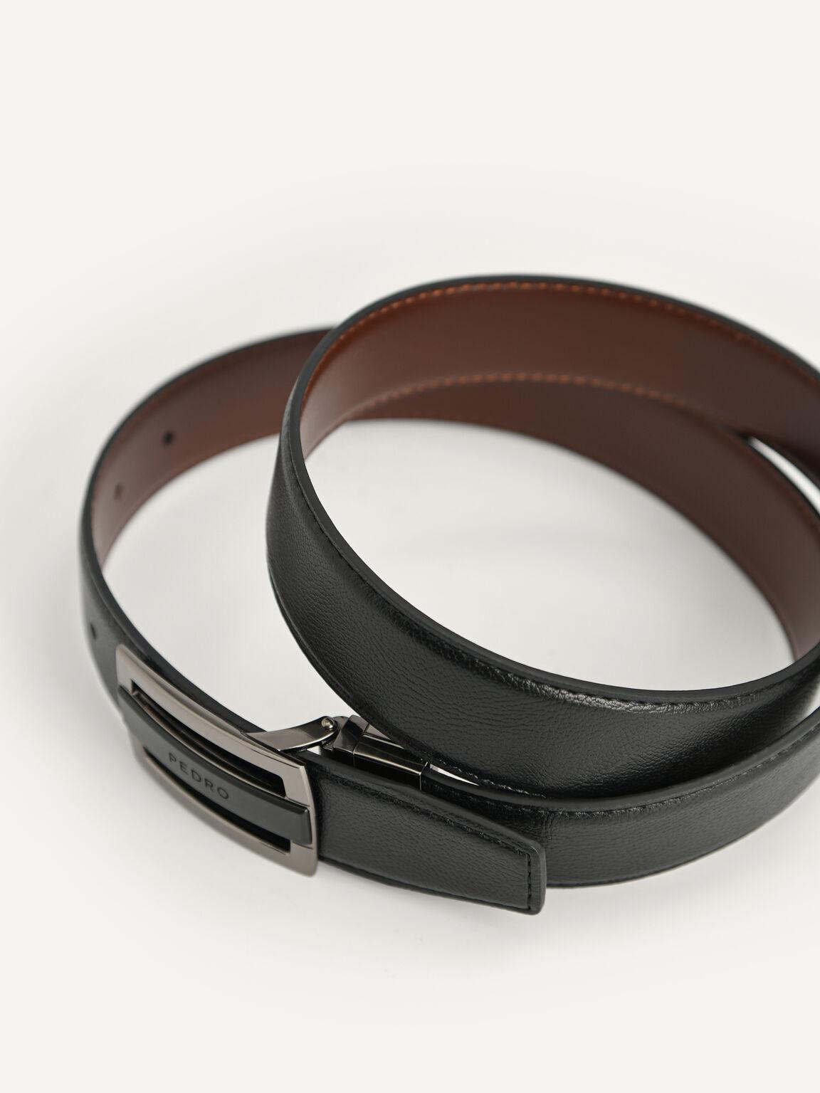 Reversible Embossed Leather Belt, Black, hi-res