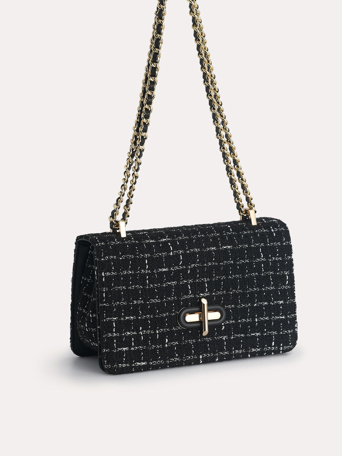 Tweed Shoulder Bag, Black, hi-res