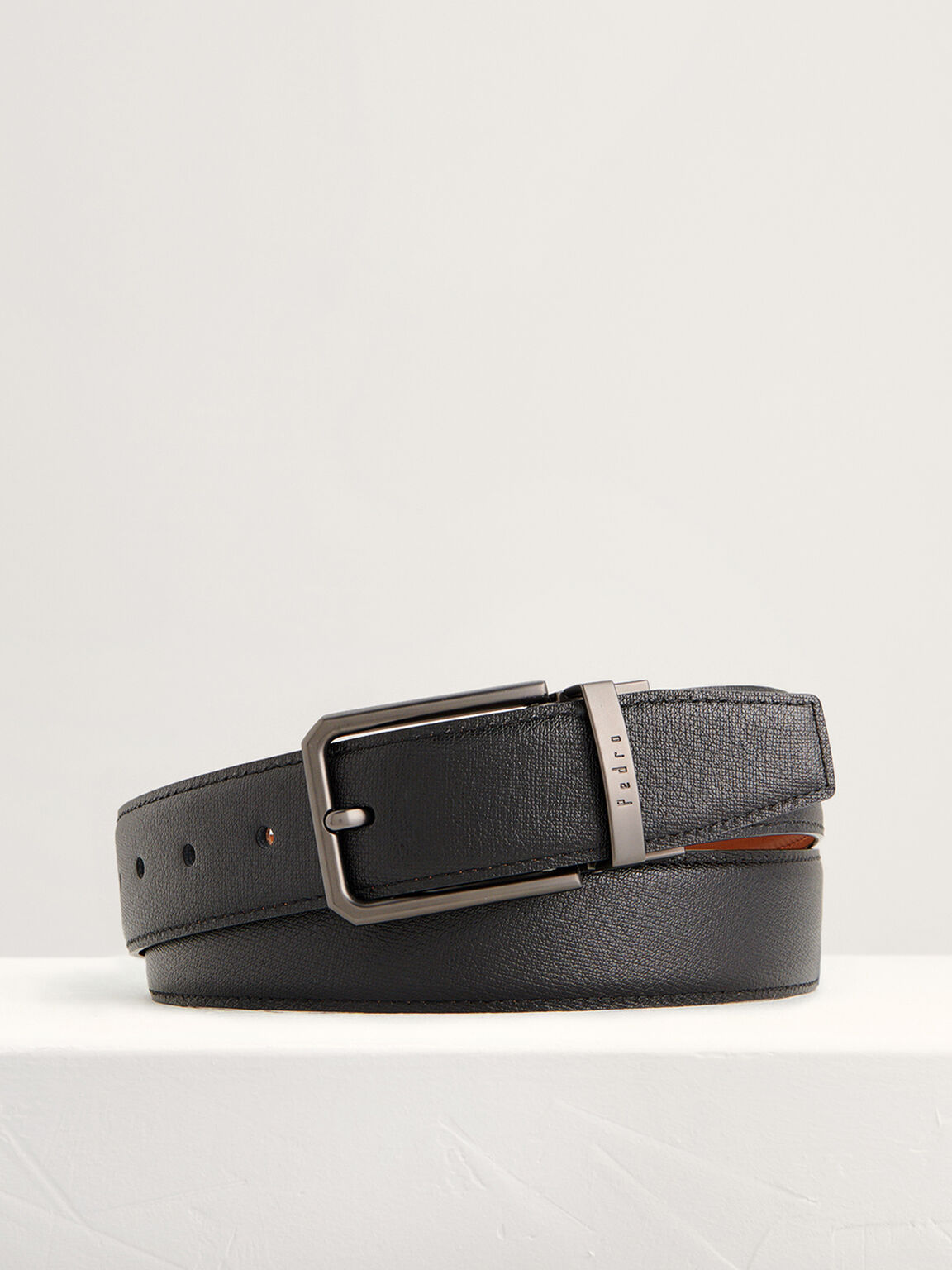 Leather Reversible Pin Belt, Black, hi-res