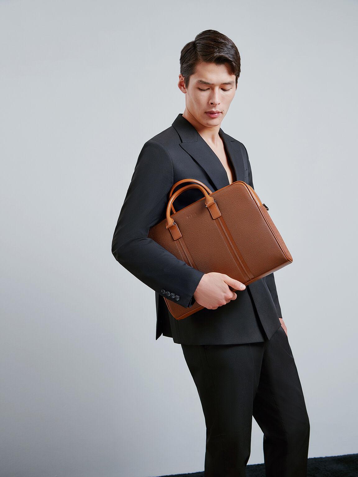 Leather Briefcase with Lock, Cognac, hi-res