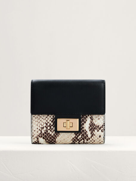 Snake-Effect Leather Short Wallet On Chain, Multi, hi-res