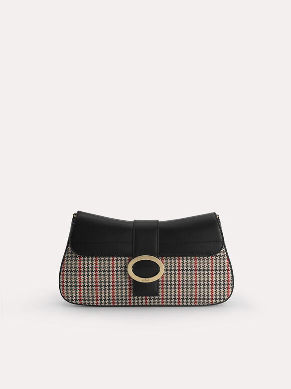 Houndstooth Rectangular Top Handle Bag, Black, hi-res