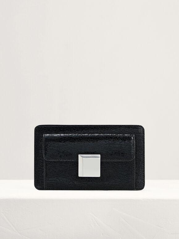 Cracked-Leather Mini Shoulder Bag, Black, hi-res