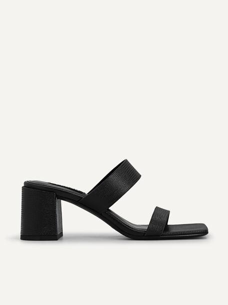 Lizard-effect Heeled Sandals, Black, hi-res