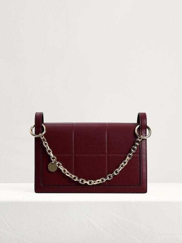 Chain Detailed Top Handle Bag, Mahogany, hi-res