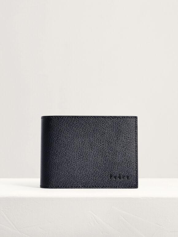 Leather Bi-Fold Money Clip Wallet, Black, hi-res
