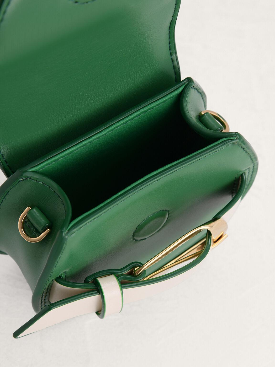 Buckled Croc-Effect Shoulder Bag, Green, hi-res