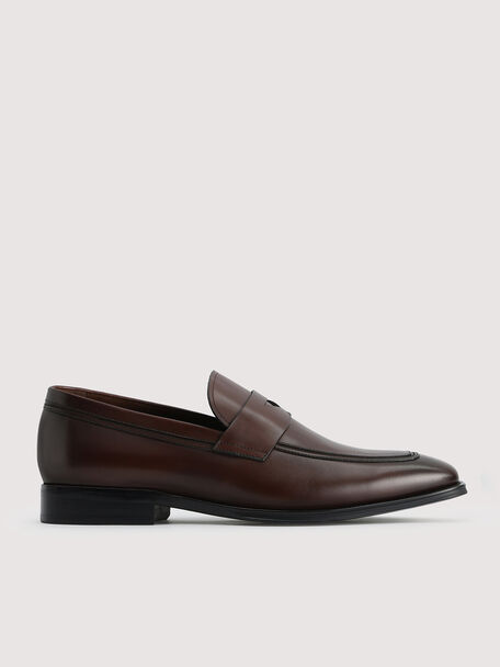 Leather Penny Loafers, Dark Brown, hi-res