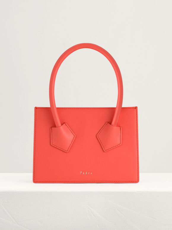 Structured Top Handle Bag, Coral, hi-res