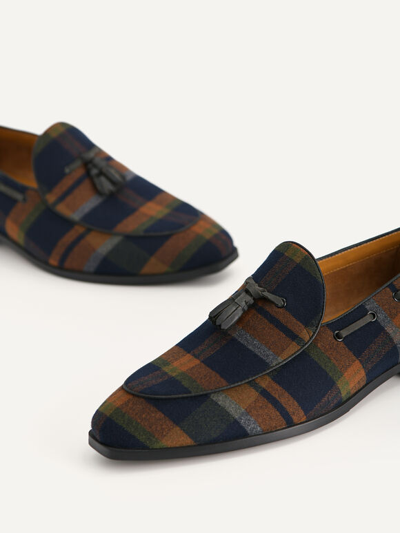 Striped Tasselled Loafers, Multi, hi-res