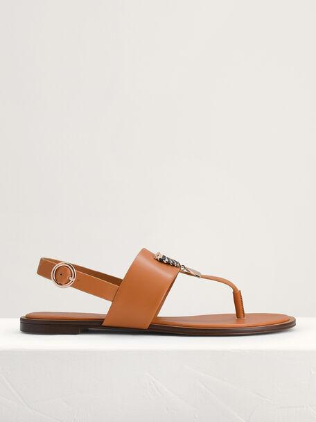Fan Embellished Thong Sandals, Camel, hi-res