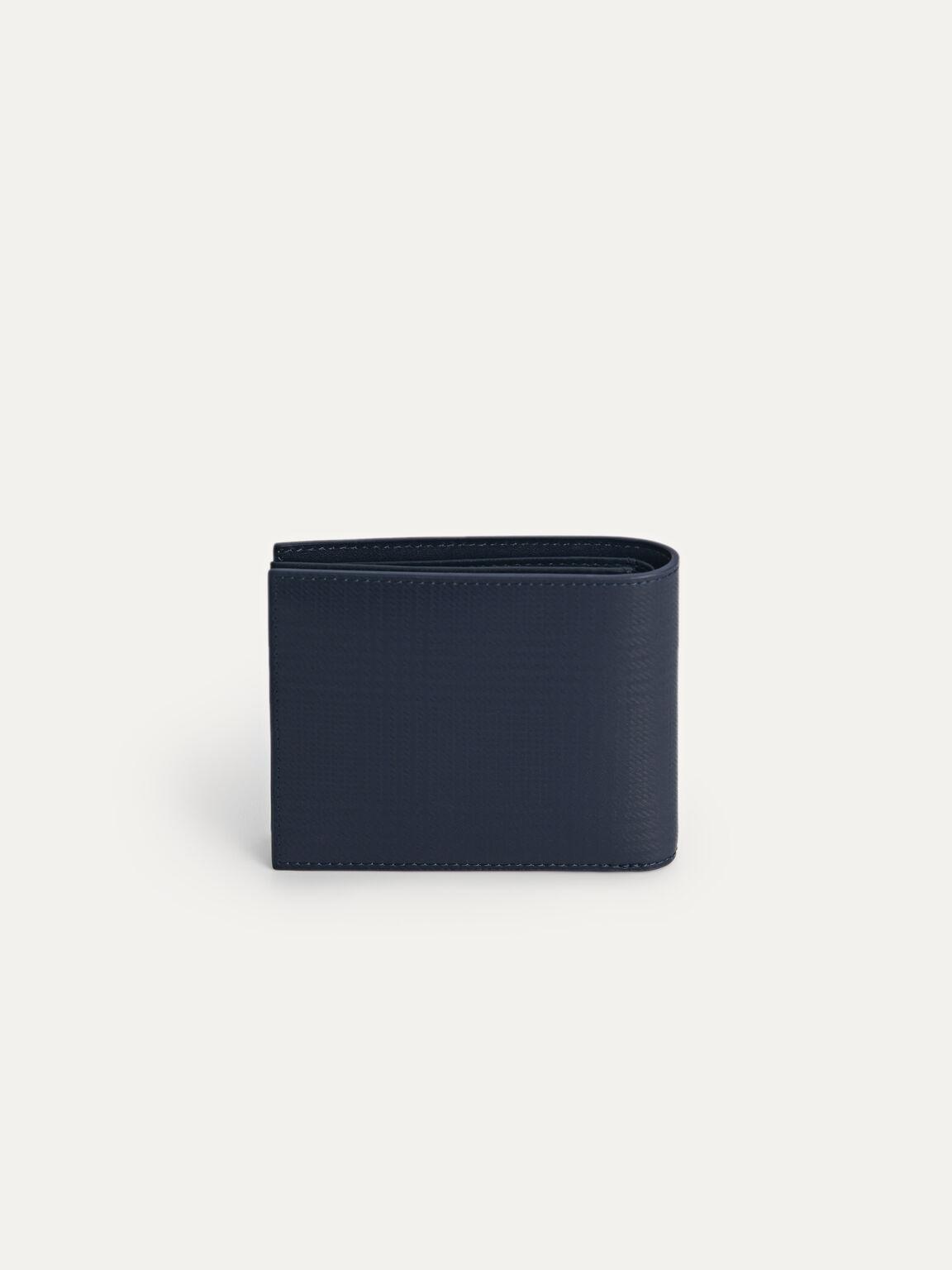 Leather Bi-Fold Wallet with Flip, Navy, hi-res