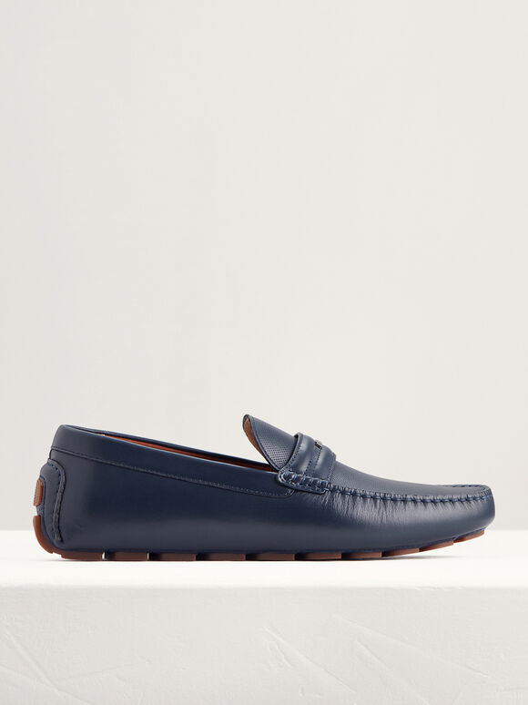 Embellished Leather Moccasins, Navy, hi-res