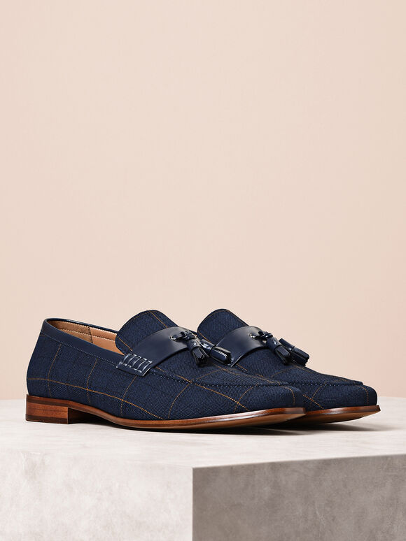 Leather Tassel Loafers, Navy, hi-res