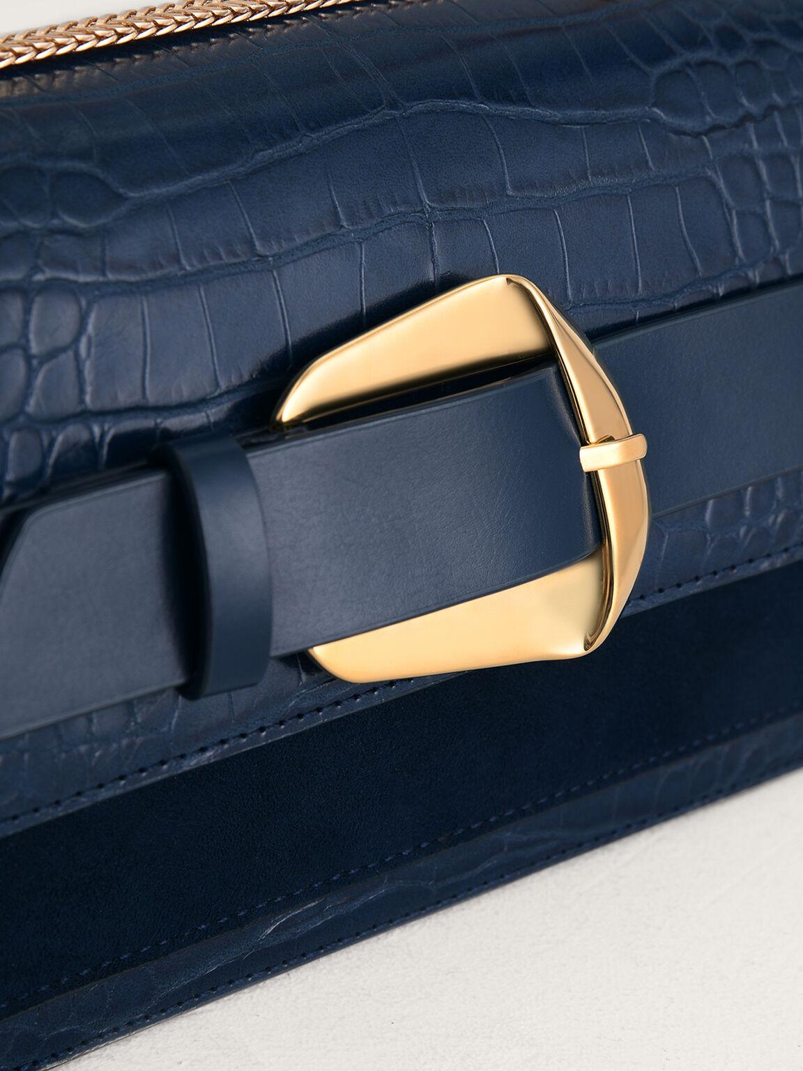 Buckled Croc-Effect Shoulder Bag, Navy, hi-res