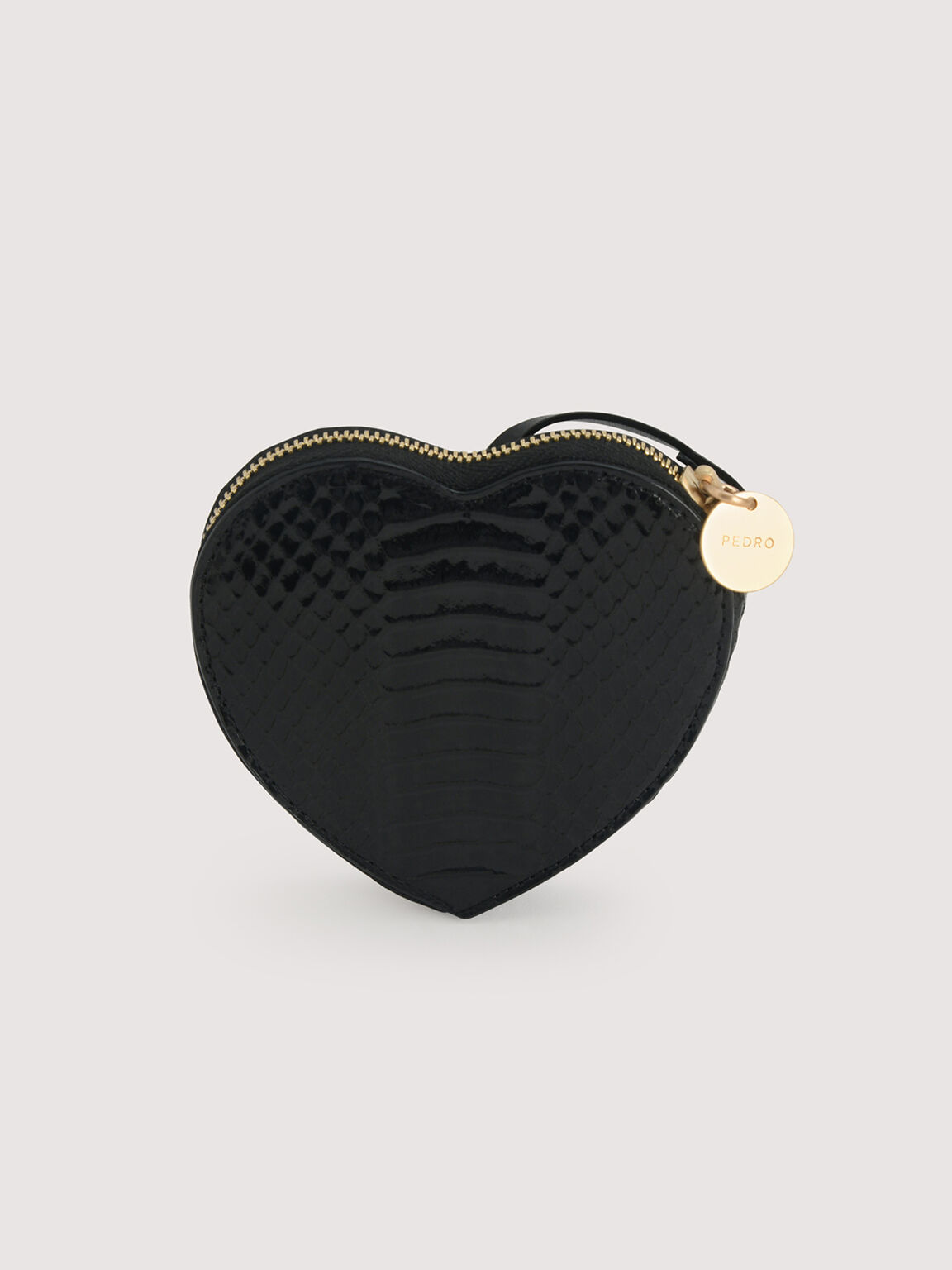 Snake-Effect Heart Coinpouch, Black, hi-res