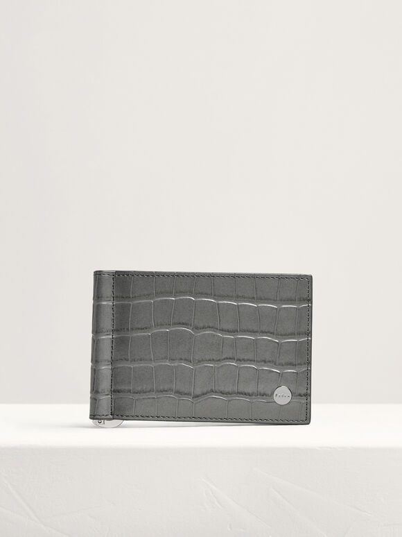 Leather Bi-Fold Money Clip Cardholder, Dark Grey, hi-res