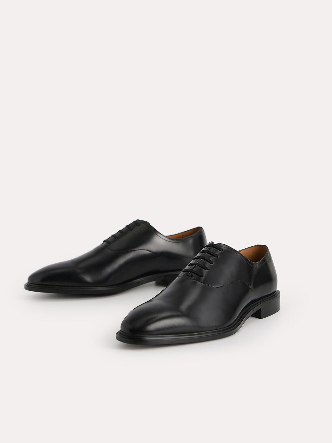 Burnished Leather Oxfords, Black, hi-res