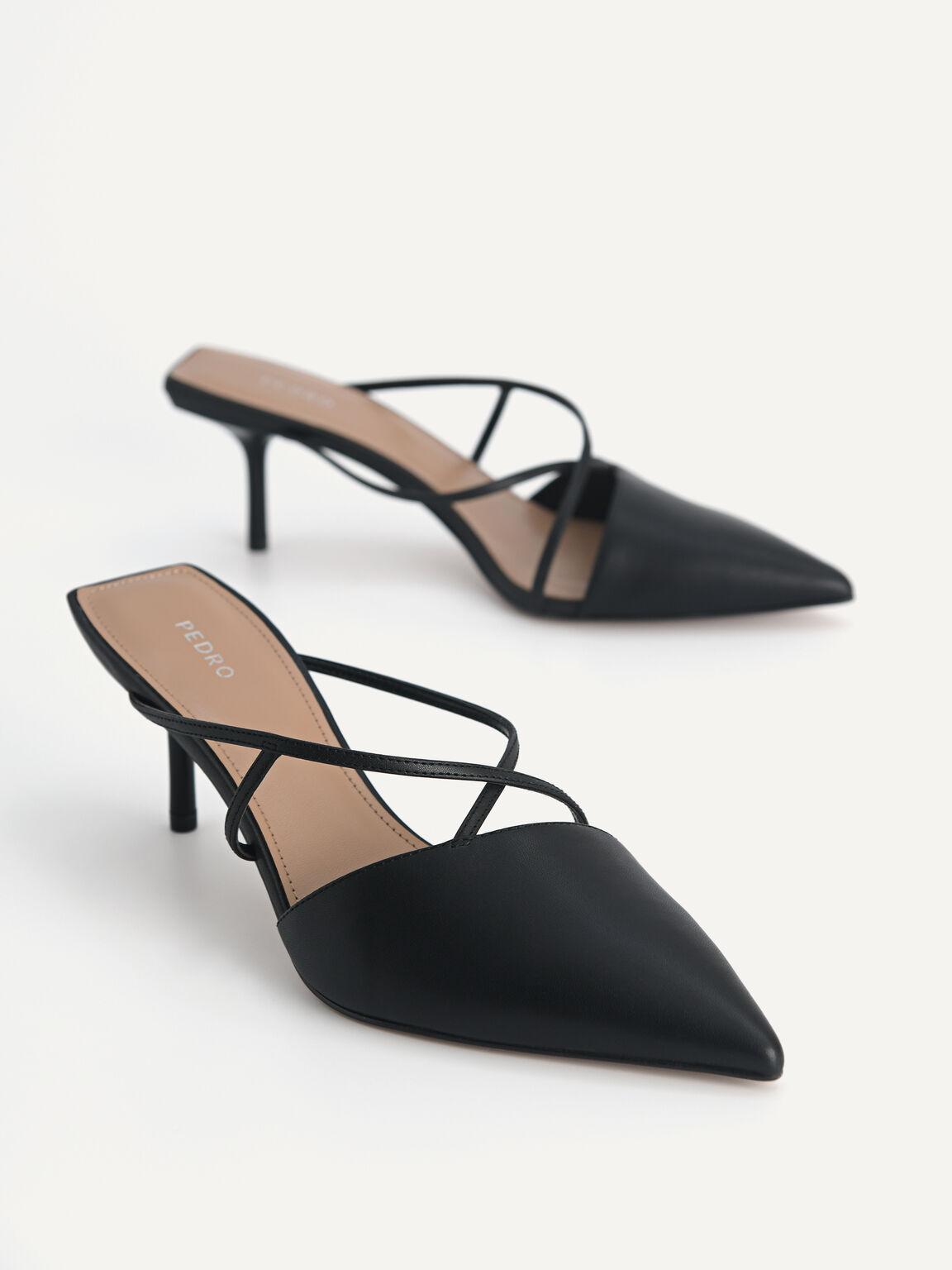 Pointed Toe Leather Heels, Black, hi-res
