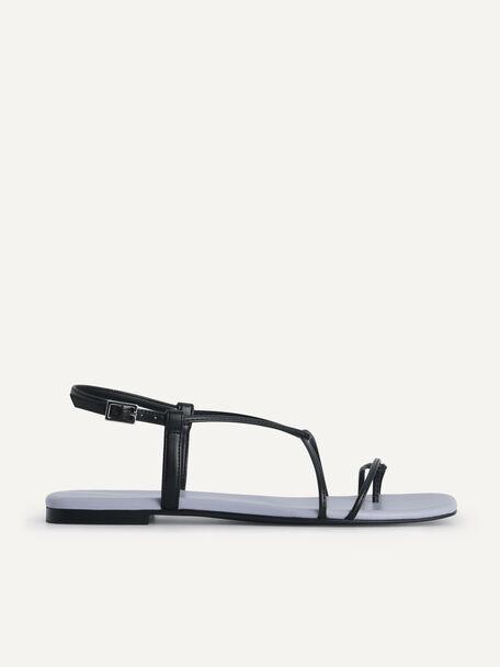 Criss Cross Toe Loop Sandals, Black, hi-res