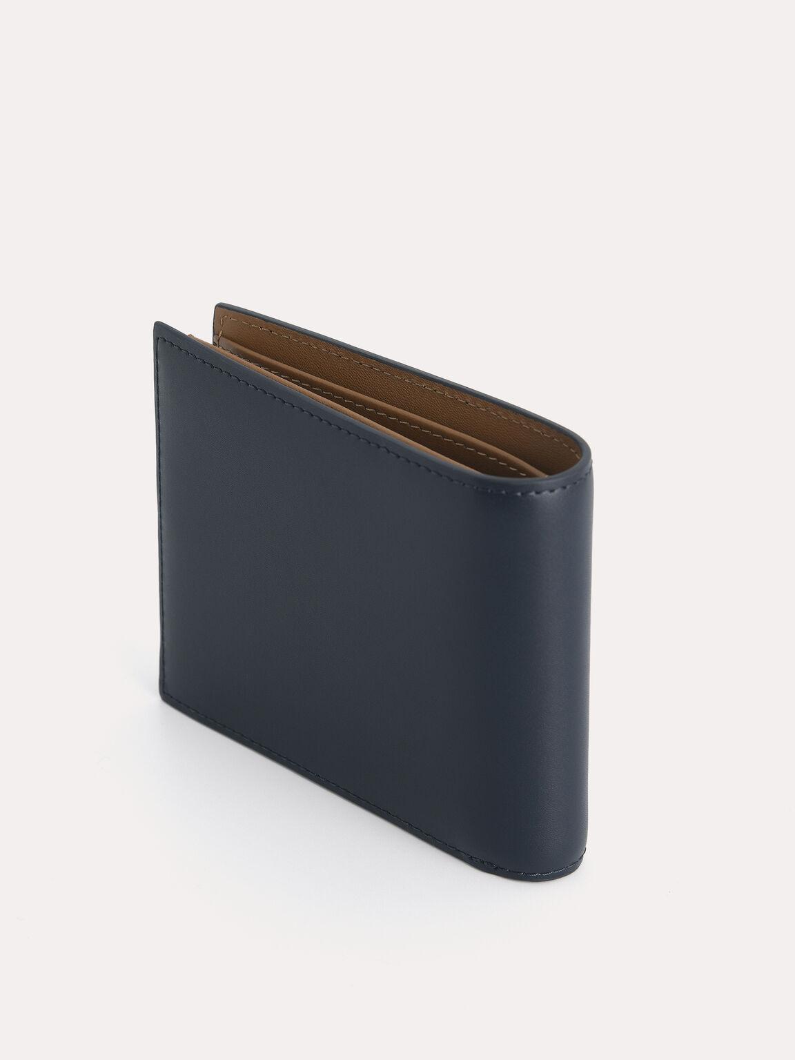 雙折疊皮革錢包帶翻蓋, 海军蓝色, hi-res