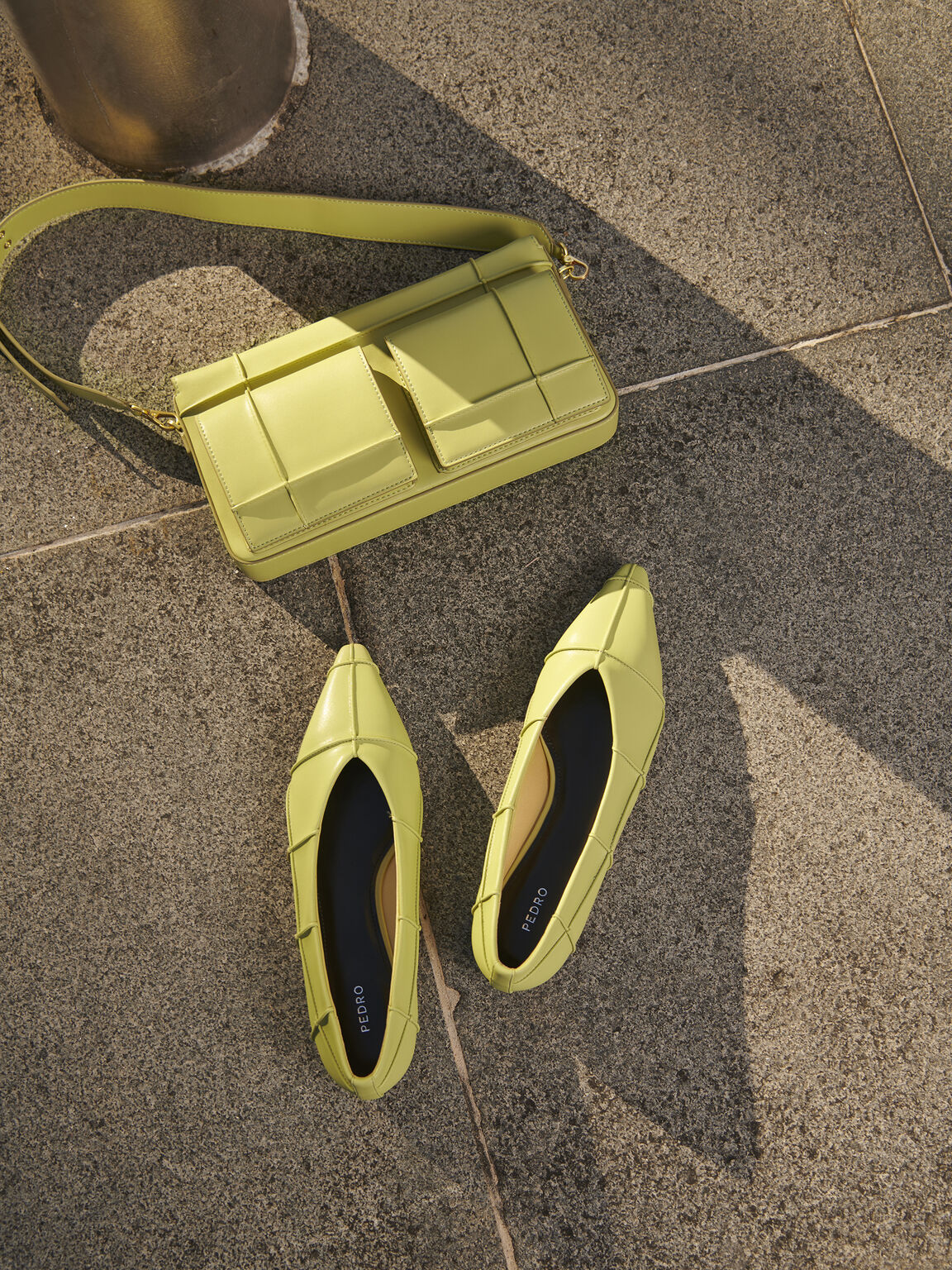 Pointed Toe Flats, Olive, hi-res