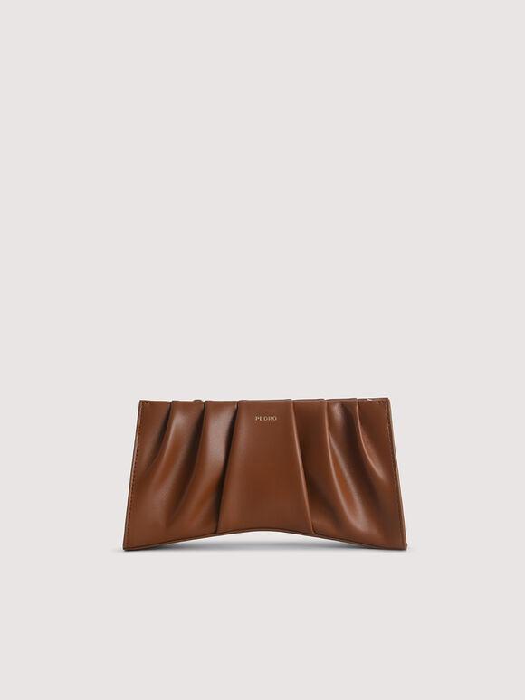 Ruched Shoulder Bag, Cognac, hi-res