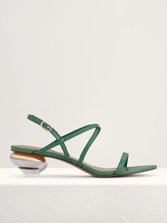 Strappy Heeled Slingback Sandals, Green, hi-res
