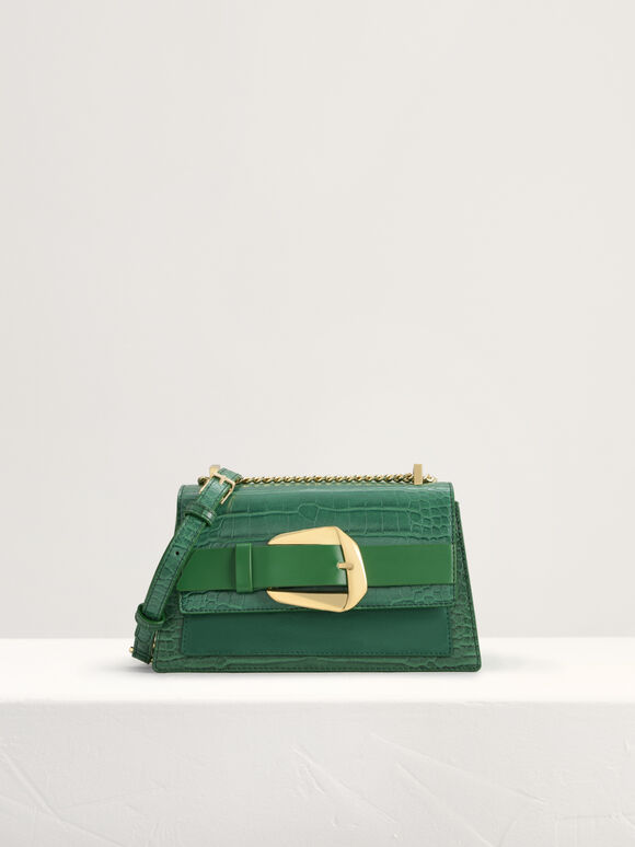 Buckled Croc-Effect Shoulder Bag, Green, hi-res