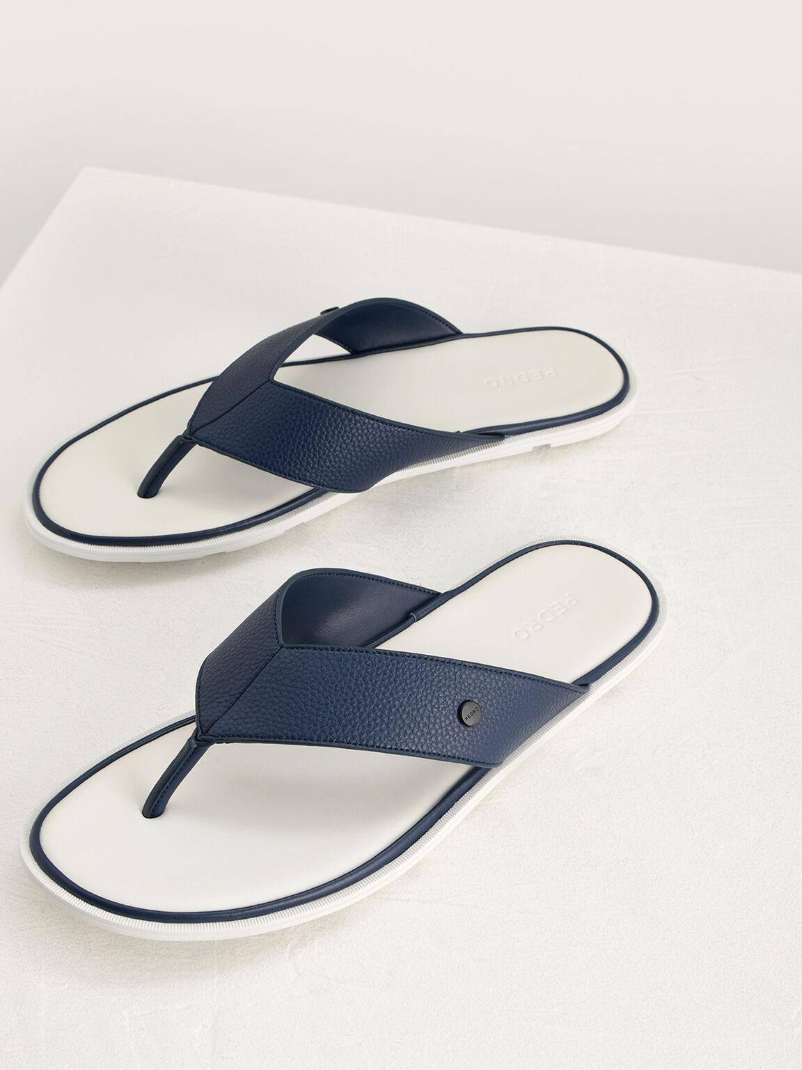 Casual Thong Sandals, Navy, hi-res