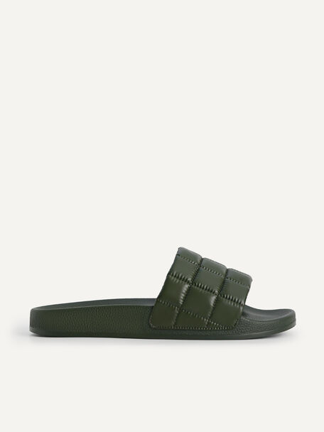 Quilted Slides, Military Green, hi-res