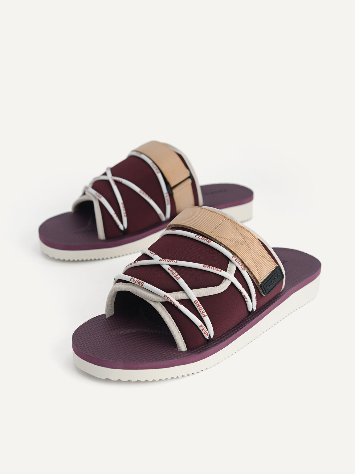 Casual Slides with Lace Detail, Maroon, hi-res