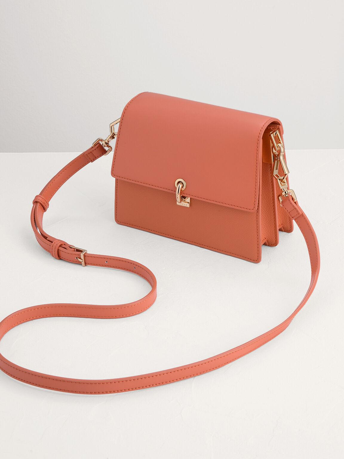 Mini Bag with Twill Details, Peach, hi-res